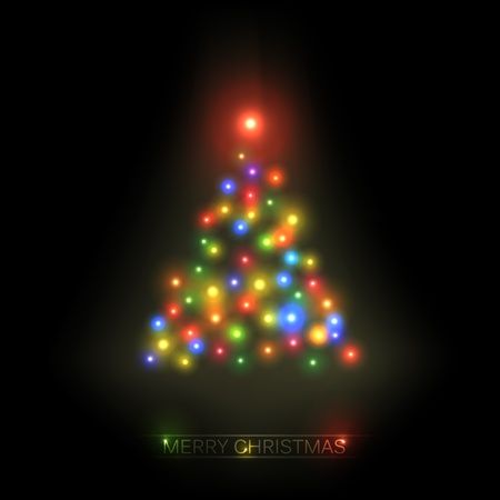 christmas tree from colorful lights on a black background Stock Vector - 11145294