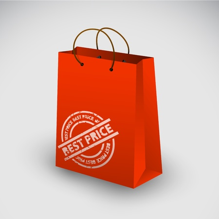 shoppingbag: Red shopping bag icon with best price stamp