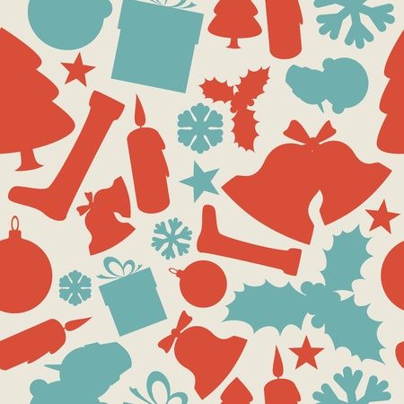 Seamless christmas pattern from various shapes (red and teal) Vector