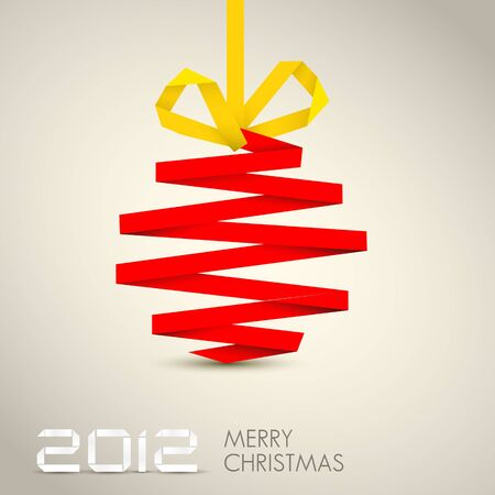 Simple christmas decoration made from red and yellow paper stripe Stock Vector - 11273063
