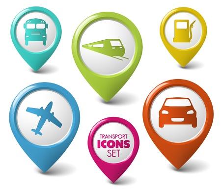 train icone: Set de ronde pointeurs de transport 3D - voiture, bus, train, avion, poste d'essence Illustration