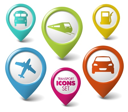 train icon: Set of round 3D transport pointers - car, bus, train, plane, gas station