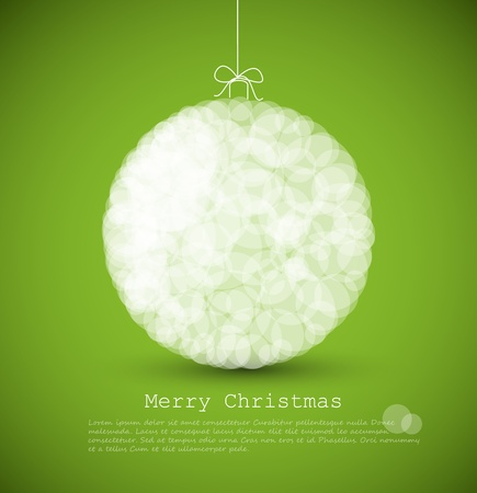 green artistic: modern card with abstract white christmas decoration on a green  background Illustration