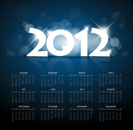 saturday night: Blue calendar for the new year 2012 with back light and place for your text Illustration
