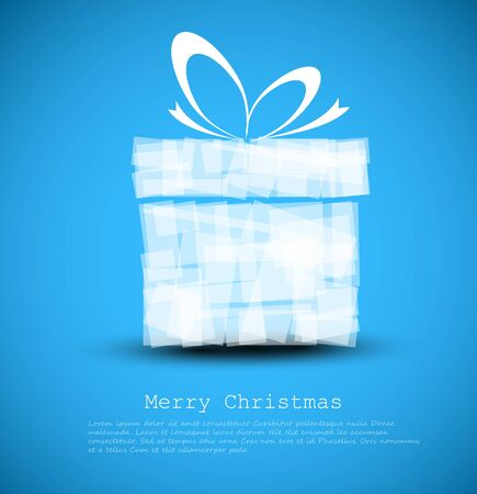 Simple blue Christmas card with a gift made from rectangles Vector