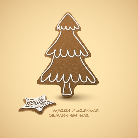 ginger bread: Christmas card - gingerbreads with white icing on brown  background and place for your text