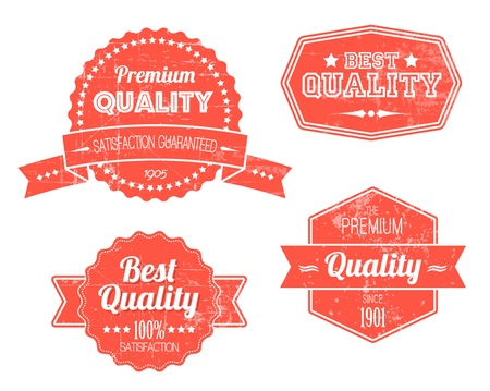 Old red retro vintage grunge labels - premium quality Stock Vector - 11273097