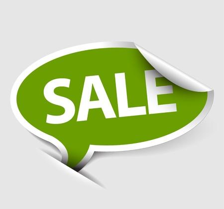 Green Sale speech bubble as pointer with white border Stock Vector - 11273076