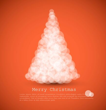 rings on a tree:  modern card with abstract white christmas tree on a red  background