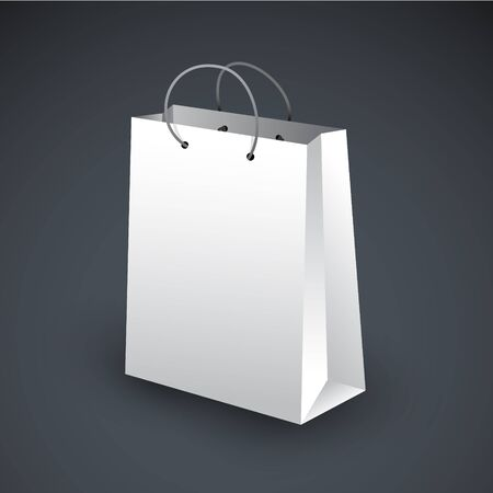 White shopping bag icon on a dark background Vector