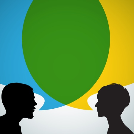 an opinion: Abstract speakers silhouettes with big blue and yellow bubble (chat, dialogue, talk or discussion)