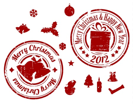 Red Grunge Christmas stamps on white background Stock Vector - 11273081