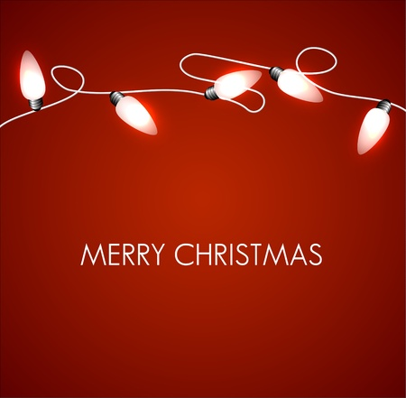 Christmas background with white christmas chain lights Vector