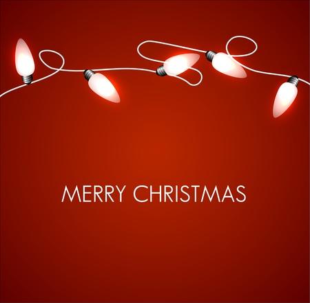 christmas lights: Natale sfondo bianco con luci a catena Natale Vettoriali