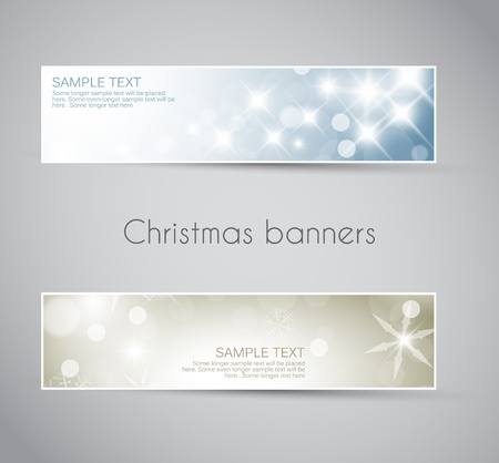 gloss banner: Set of christmas  New Year horizontal banners 2012