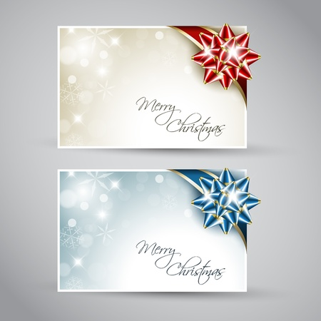 Set of christmas  New Year cards with ribbon Vector
