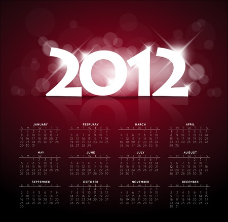 Red calendar for the new year 2012 with back light and place for your text Vector