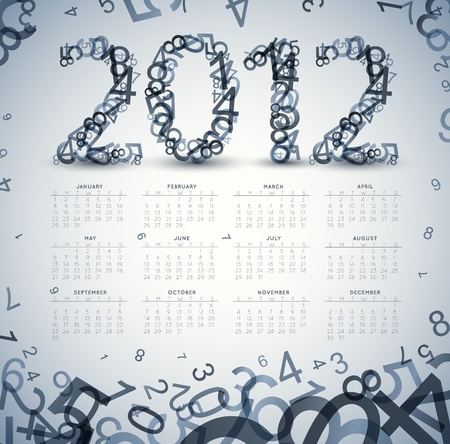 Vintage retro calendar for the new year 2012 with numbers Vector