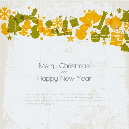 Vintage christmas card with various seasonal shapes Vector