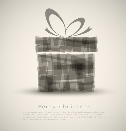 Simple Christmas card with a gift made from rectangles Vector
