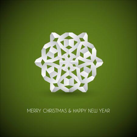 snow flakes: white paper christmas snowflake on a green background