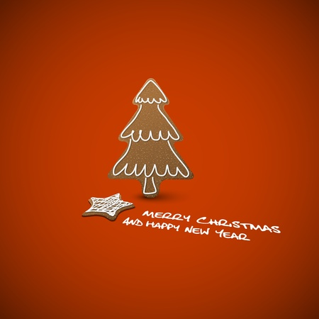 Christmas card - ginger breads with white icing on red background and place for your text  Vector