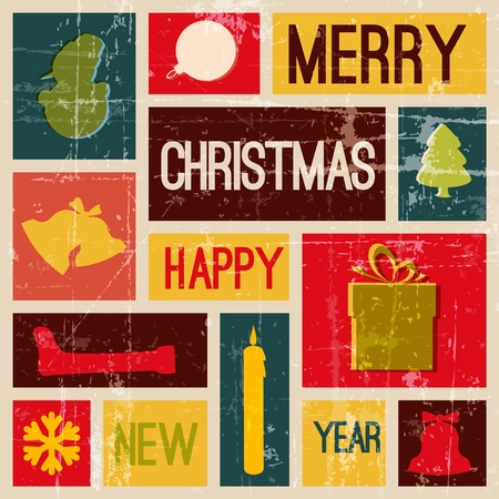religious christmas: Vintage christmas card with various seasonal shapes