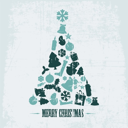teal background: Vintage christmas tree made from various shapes (teal)
