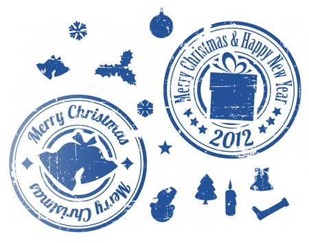 Blue Grunge Christmas stamps on white background Vector