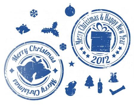 happy new year stamp: Blue Grunge Navidad sellos en el fondo blanco Vectores