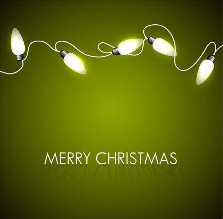 Vector Christmas background with white christmas chain lights on green Vector