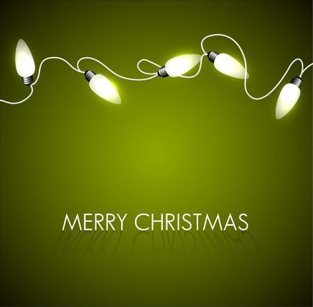luces navidad: Vector de fondo de Navidad con luces blancas de Navidad en la cadena verde Vectores