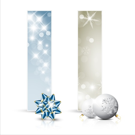 Set of christmas  New Year cards or banners with decoration Vector