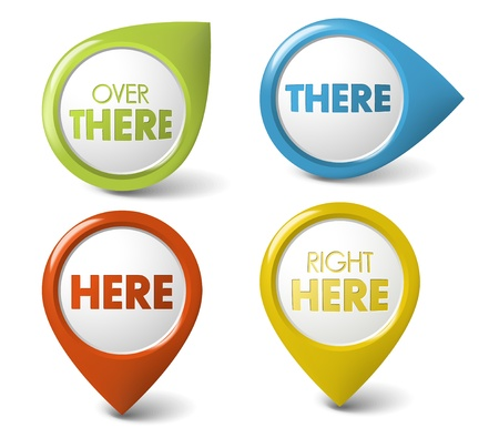 information icon: Vector Round 3D here  there  pointer - button (call to action)