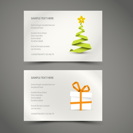 Set of Simple vector christmas decoration made from paper stripe - original new year card Vector