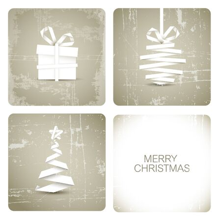 Simple vector grunge christmas decoration made from white paper stripe - original new year card Stock Vector - 11535298