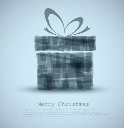 rentgen: Simple blue Christmas card with a gift made from rectangles Illustration