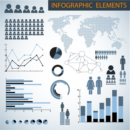demographics: Big Vector set of Infographic elements for your documents and reports