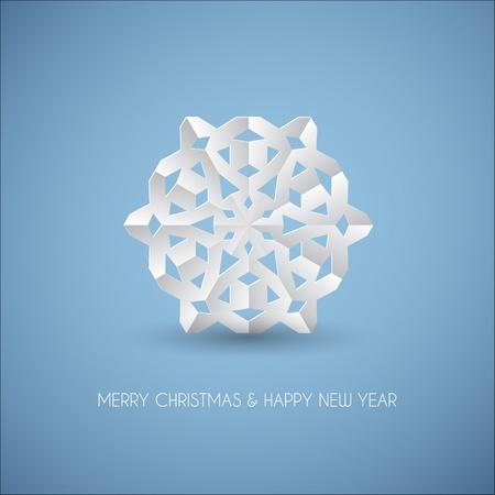 fiambres: Vector papel blanco copo de nieve sobre un fondo azul claro