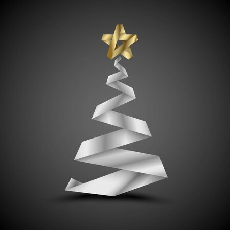 Simple vector christmas tree made from silver stripe - original new year card Vector