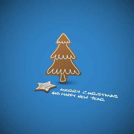 Vector Christmas card - ginger breads with white icing on blue background and place for your text  Vector