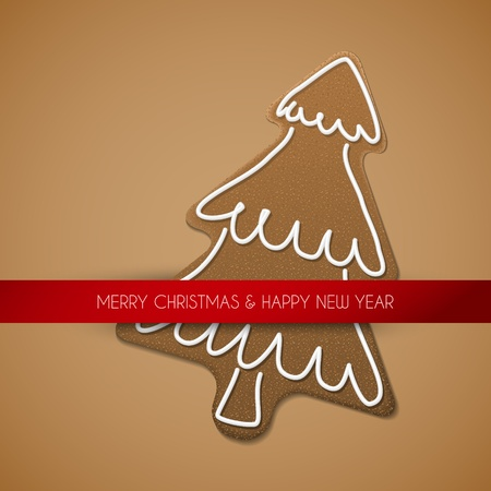Vector Christmas card - gingerbread tree with white icing on brown background and place for your text Vector
