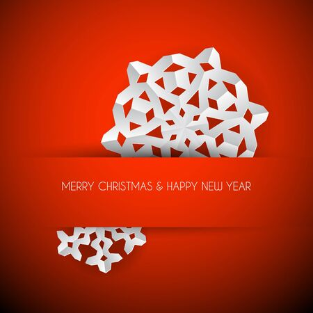 red background: Vector white paper christmas snowflake on a red background