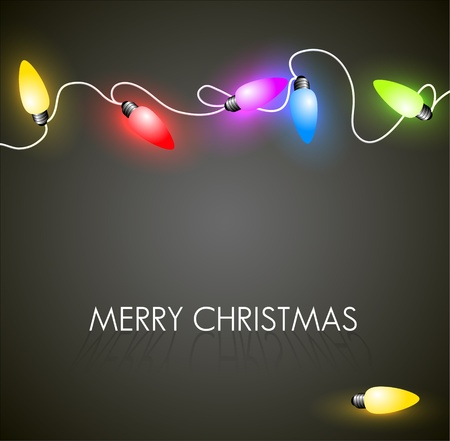 light color: Vector Christmas background with colorful christmas chain lights on green