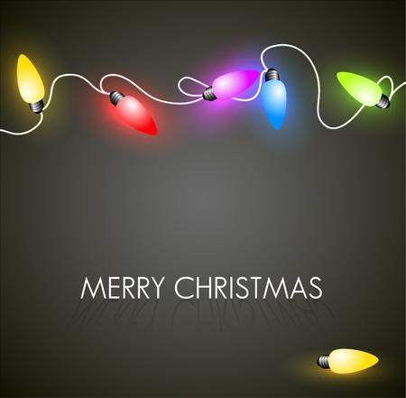 sfondo luci: Vettore sfondo di Natale con luci colorate catena di natale sul verde