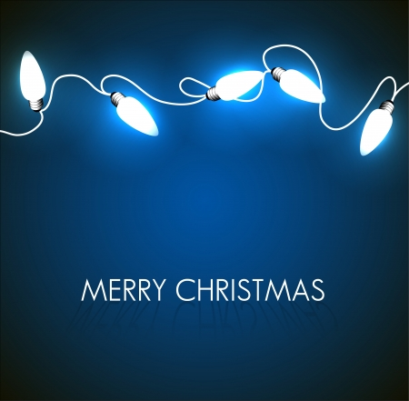 Vector Christmas background with white christmas chain lights on blue Vector