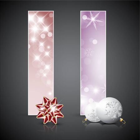 Set of vector christmas  New Year cards or banners with decoration Vector