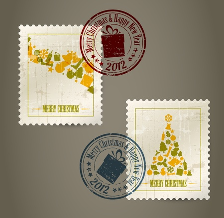 postal card: Collection of vector vintage postage stamps with postmarks