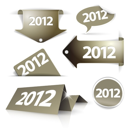 Vector golden 2012 Labels, stickers, pointers, tags for your (web) page Vector