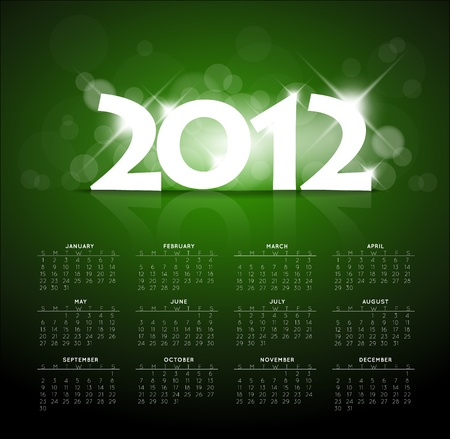 glimpse: Blue calendar for the new year 2012 with back light and place for your text Illustration